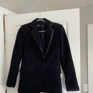 Zara blue velvet blazer with black satin trim